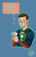 Sick, hipster Sheldon is sick by MuddleofDoodlez