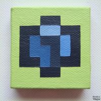a micro blue isometric voxel, up-close.. @_@ by nintentofu
