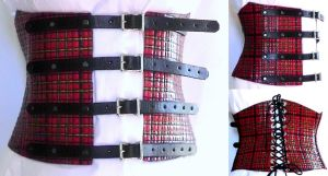 Under Bust Corset Plaid With Buckles by WildeMaide