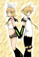 Kagamine Rin and Len by rockleeofthesand