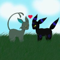 Umbreon and Espeon by Kay-is-Dreaming