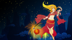 Janna - Lunar Revelry :Red Wallpaper: by Mignion
