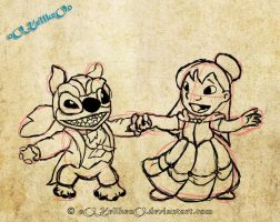 Lilo and stitch BatB WIP by oOKellkeoO