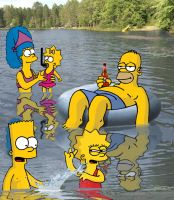 simpsons ejoying a swim by jamief1701