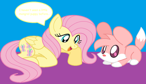 Fluttershy and Strawberry by HeartinaThePony