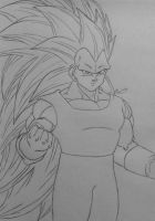Vegeta Super Saiyan 3 Line Art by Conzibar