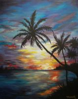 Tropical Sunset Painting by cusT0M