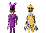 Withered Bonnie and Withered Chica -Coloured by Dante6499