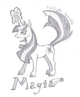 Magia Twilight, pencil sketch by FoldawayWings