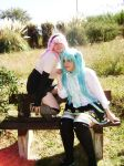 Megurine and Hatsune by x-Alone