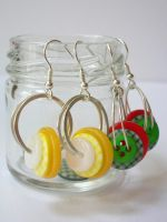 Gingham Button Earrings by Becca-ca-ca