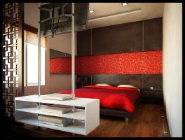 Red bedroom by SanSamuel