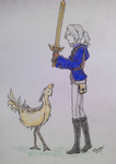 Luneth and a chocobo by Thean-chan