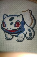 Bulbasaur Cross Stitch WIP 3 by GaaraxHinata6666