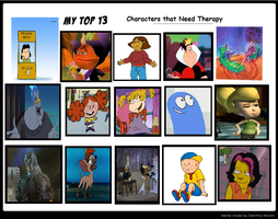My Top 13 Characters That Need Therapy by YakkoWarnerMovies101