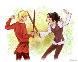Courtyard Sparring By Jen-and-Kris by mirzendo