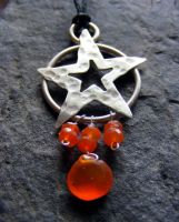 Carnelian Pentacle Necklace by MoonLitCreations