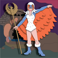Shadowbox Mock-up:  Sorceress Of Castle Grayskull by The-Paper-Pony