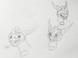 A Few Skylander Spyro Sketches by IcelectricSpyro