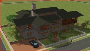 Sims 2 Wood and rock house by RamboRocky