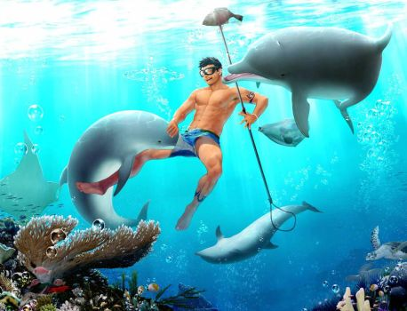 Boy with dolphins Yaoi/Bara by Taurank