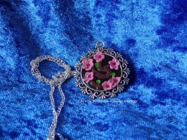 Sakura/Cherry Blossom Cameo Necklace by LoekazCharms