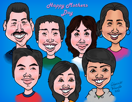 Family Caricature ( Mother's Day Gift ) by eMoneyGraphix