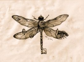 steampunk dragonfly key by agentcoleslaw