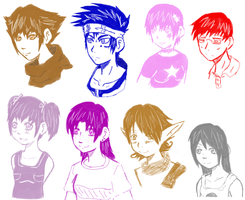 Colored Heads by Linkakami