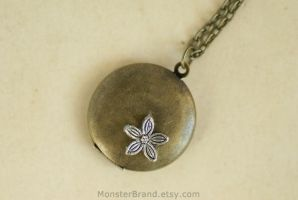 Tiny Flower Locket - Necklace by MonsterBrandCrafts