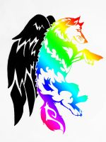Tribal Winged Wolf 3 by darkmoonwolf21