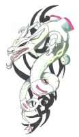rayquaza tattoo by pitch-black-crow