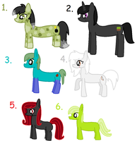 Minecraft Hostile Overworld Pony Adoptables by LittleSnowyOwl