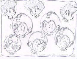 megaman doodles by Nintendrawer