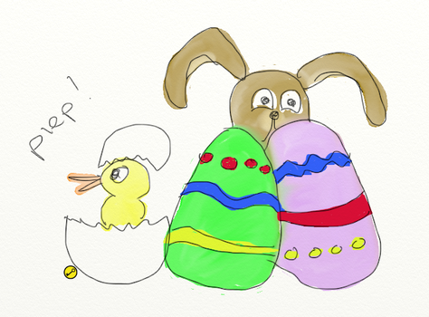 Easter Bunny with Chick! by Trinsec