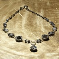 Steampunk Necklace black white by CatherinetteRings