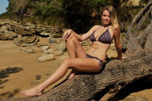 Brooke - floral bikini on log 2 by wildplaces