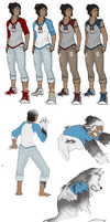 Korra Wolf AU Drawings by JustiCmo