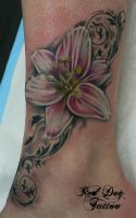Ankle Lily by Reddogtattoo