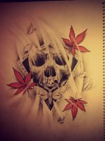 mixed styles, skull moth maplle leafs in the wind by StathisP