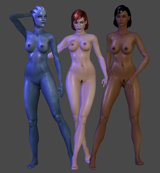 Nude pack (Sam, Liara, and Femshep) DL by TheRaiderInside