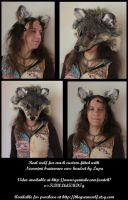 Wolf mask with moving Necomimi ears by lupagreenwolf