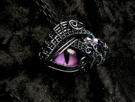 Lavender Smoke - Wire Wrapped Dragon Eye by LadyPirotessa