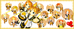 Happy B'day Kagamine-twins by Zatsune-sama