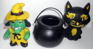 Vinyl Witch and Cat Set Yellow by Buddhadragon