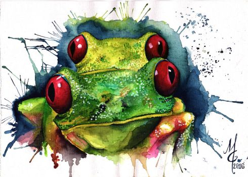 Red eyed tree frogs by Rata-Mahatta