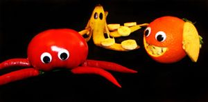 Sea animals made out of fruit by nancy-kelpie