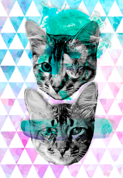 Hipster Tabby cat - Cellphone Wallpaper by pamtamarindo
