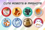 Cute Robots and maskots badges by Moemai