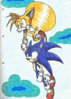 Sonic and Tails flying by SILVERtheHEDGEHOGyes